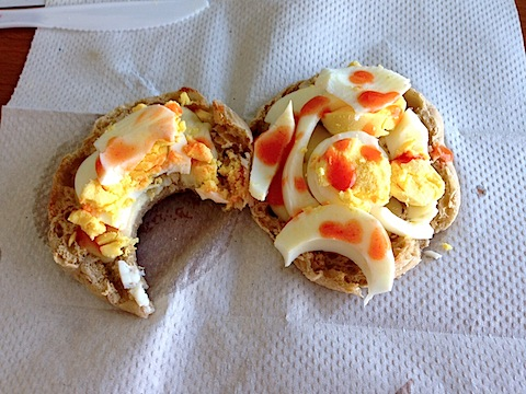 Image result for hard boiled egg english muffin hot sauce